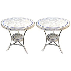 Rare Pair of Mother-of-Pearl Lapis Polished Nickel Round Two-Tier Gueridon Table