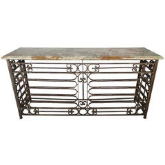 French Art Deco Style Wrought Iron Console with Onyx Top