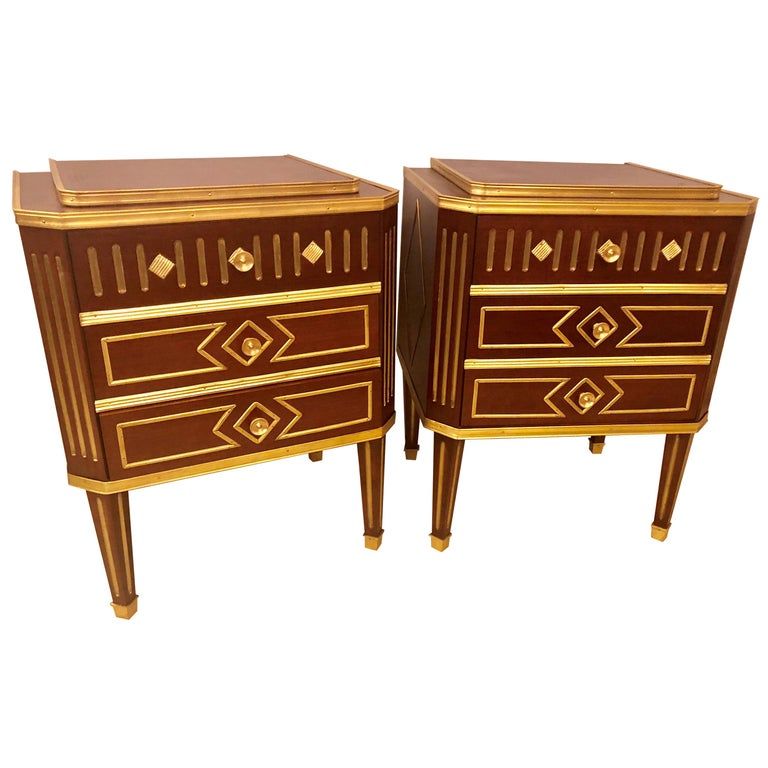 Pair Of Mahogany Russian Neoclical Three Drawer End Tables Or Nightstands For