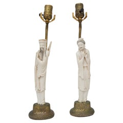 Pair of Chinese Carved Bone Lamps