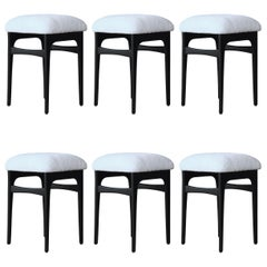 Set of Six Ebonized Stools with Shearling Seats, Denmark, 1960s