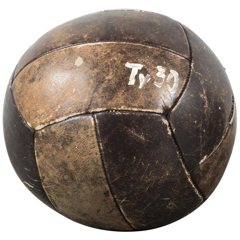 Vintage Leather Medicine Ball For Sale