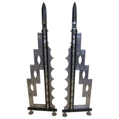 Pair of Very Tall Art Deco Revival Andirons, Handcrafted in Iron and Steel
