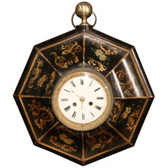 19th Century, French Napoleon III Black and Gilt Painted Tole Wall Clock