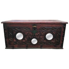 Spanish Colonial Wooden Carved, Paint decorated Valuables Box, circa 1780