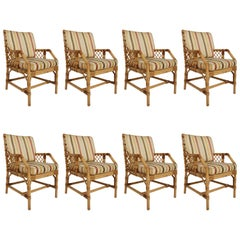 Bielecky Bros Set of Eight Rattan / Cane Dining Chairs