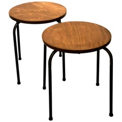 Pair of Midcentury Stools Tubular Metal Legs Stackable