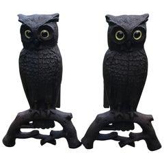 Cast Iron Owl Andirons, circa 1900
