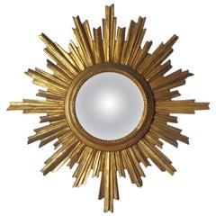 1950s-1960s Decorative Gold Leafed, Sunburst Framed, Small Convex Mirror