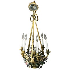 19th Century French Gilt Bronze and Enamel Flower Basket Six-Light Chandelier