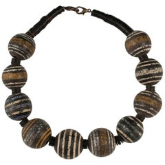 Large Mali Terracotta Tribal Bead Necklace by Claire Ginioux, Paris, France