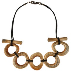 Large Antique Yak Bone Tribal Necklace by Claire Ginioux, Paris, France