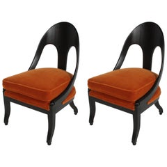 Pair of Michael Taylor Spoonback Neoclassical Lounge Chairs