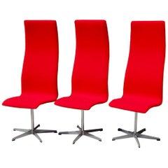 Set of Six Freshly Restored Arne Jacobsen Fritz Hansen High Back Oxford Chairs