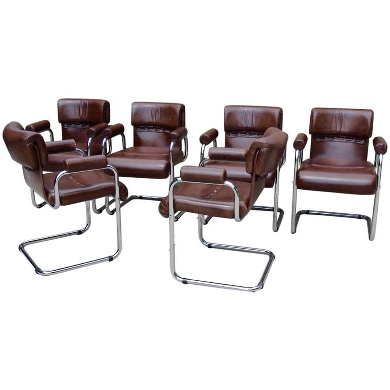 Set of Six Chrome Frame Leather Guido Faleschini for Mariani Chairs ...