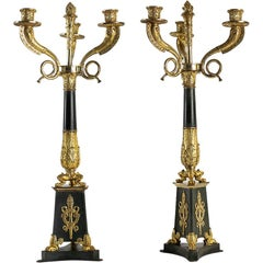 Large Pair of French Empire or Restauration Period Candelabra, Early 1800s