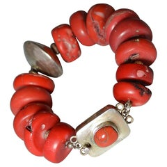 Vintage Bracelet with Large Coral Silver Beads