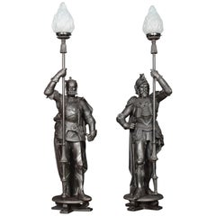 Substantial Pair of 19th Century Cast Iron Figures of Knights