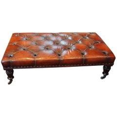 Large Leather Coffee Table Stool on William IV Legs