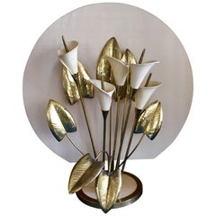 Table Light, Brass and Ceramic Lillies, Italy, circa 1960s-1970s