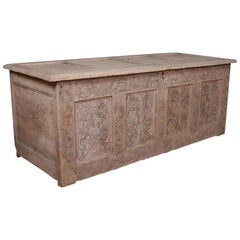 English Bleached Oak Coffer or Blanket Chest