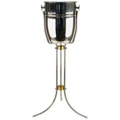 Art Deco Manner Champagne Cooler in Polished Aluminium on Tripod