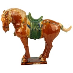 Chinese Tang Manner Sancai-Glazed Pottery of a Standing Horse