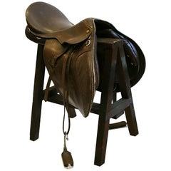 Vintage English Leather Riding Saddle and Sawhorse