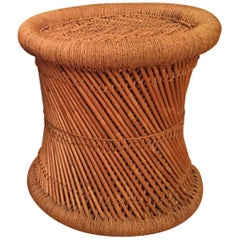 Round Mid-Century Modern Woven Rush Stool