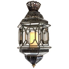 """31"""" Moroccan Lantern Pendant in Brass and Glass"""
