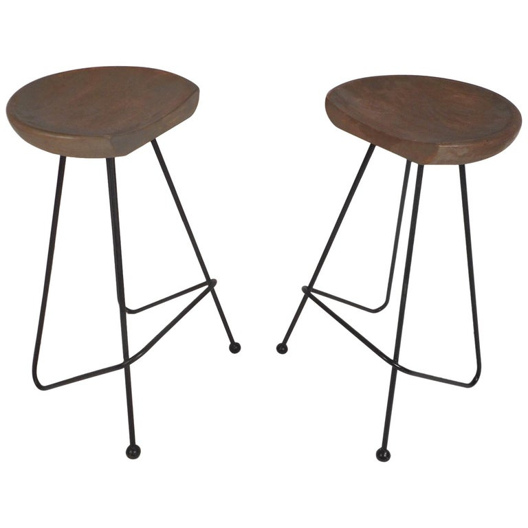 Pair Of Midcentury Wrought Iron Bar Stools For