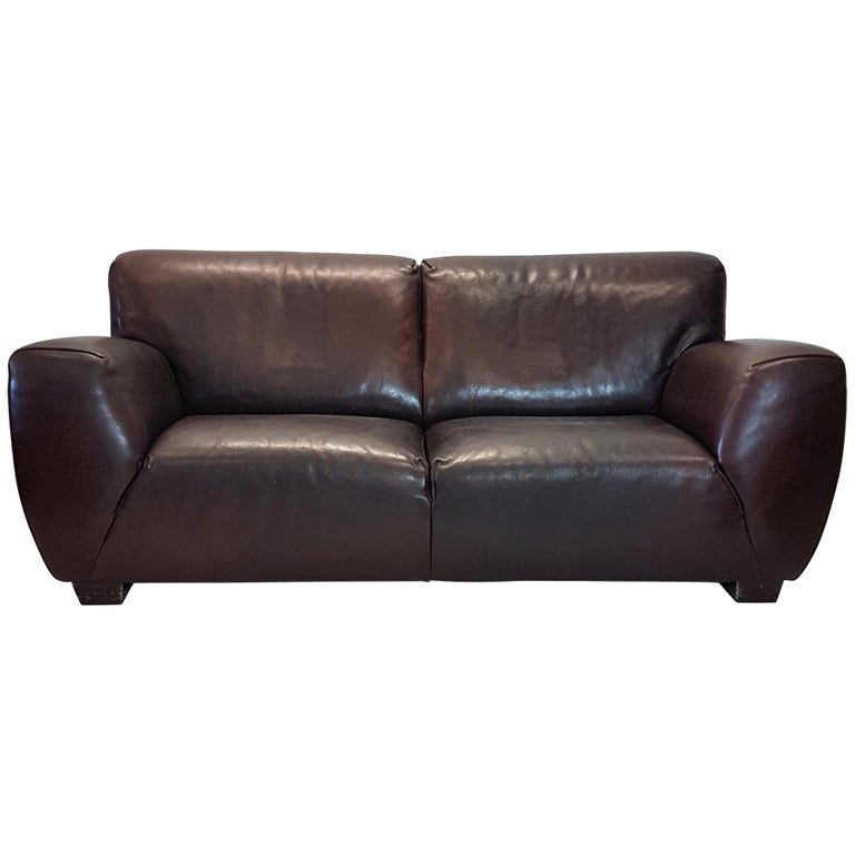 Brown Thick High Quality Leather Two Seat Sofa Fat Boy By Molinari For