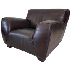 Brown Thick High Quality Leather Lounge Chair 'Fat Boy' by Molinari