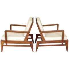 Rene Gabriel French Oak Lounge Chairs Reconstruction Period