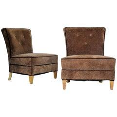 Pair of Glamorous Faux Leopard Kravet Upholstered Slipper Chairs