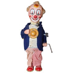 1950s Smiling Sam Carnival Man Clown Wind Up Japan Tin Toy