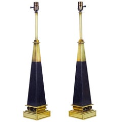Pair of Brass and Ebonized Wood Obelisk Lamps by Tommi Parzinger for Stiffel
