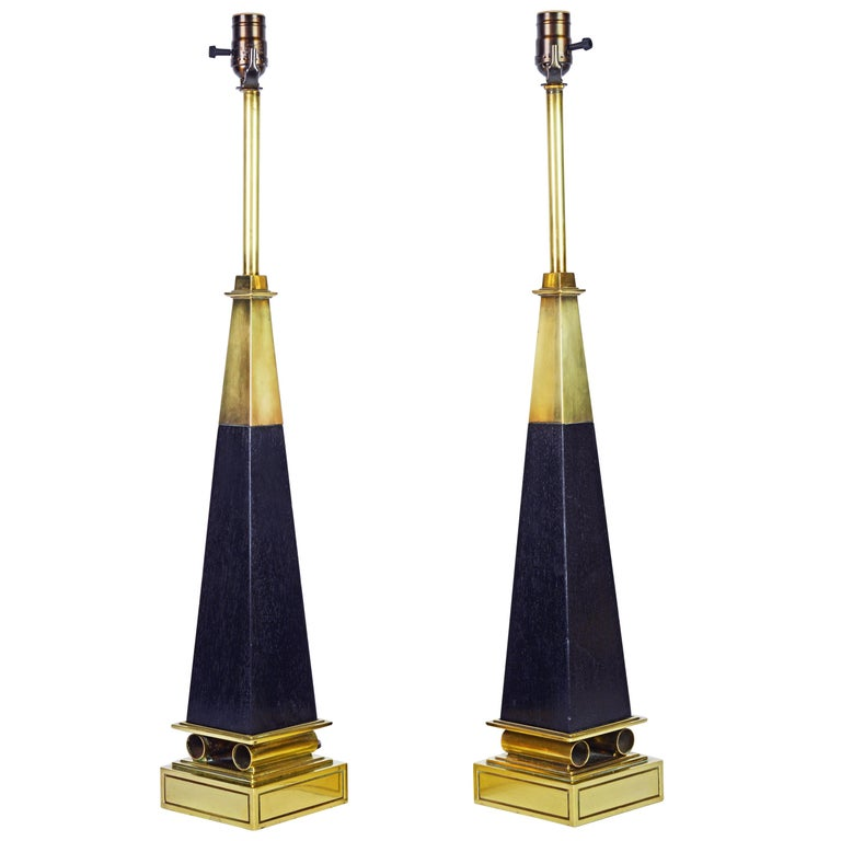 Pair of Brass and Ebonized Wood Obelisk Lamps by Tommi Parzinger for Stiffel For Sale