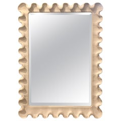 Midcentury White Scalloped Mirror