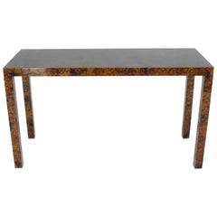 Mid Century Modern Tortoise Lacquer Finish Console Table