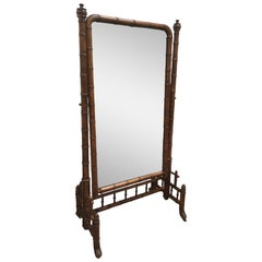Antique French Rattan Pivoting Floor Mirror