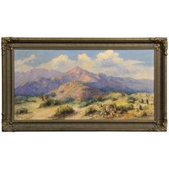 1920s Desert Landscape in Original Frame