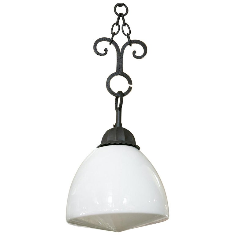 Antique Milk Glass and Iron Pendant For Sale