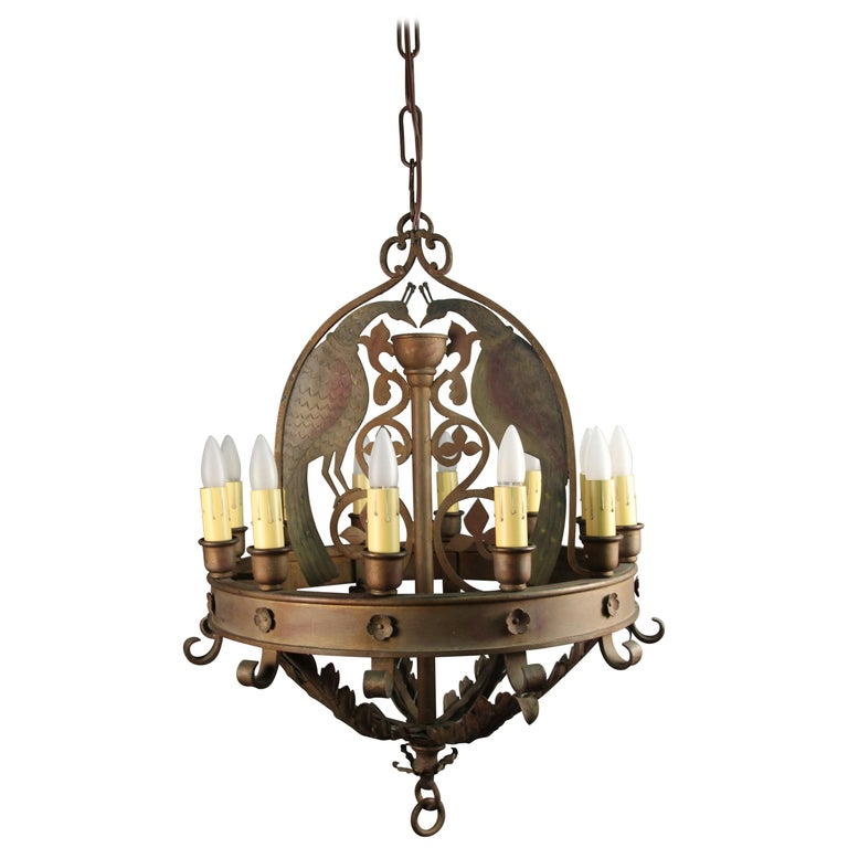 Antique Outstanding 1920s Spanish Revival Large-Scale Chandelier with Peacocks