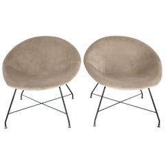 Augusto Bozzi for Saporiti Italia Pair of Italian Lounge Chairs