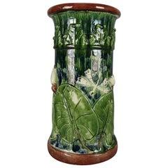 Antique Majolica Aesthetic Art Pottery Relief Marshland Umbrella Stand