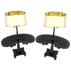 Pair of Black Lacquer Gold Decorated Kidney Shape Deco Floor Lamps Side Tables