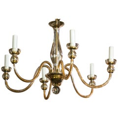 Vintage Handblown Murano Pale Amber Glass Chandelier