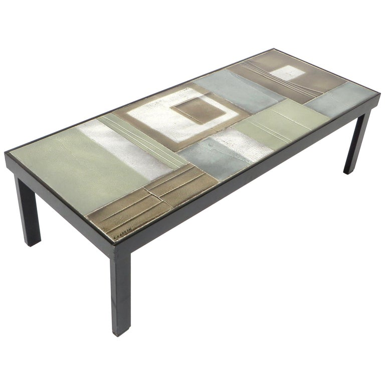 Roger Ca French Ceramic Tile Coffee Table Vallauris