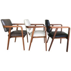 Set of Three George Nelson Occasional Leather Chairs for Herman Miller